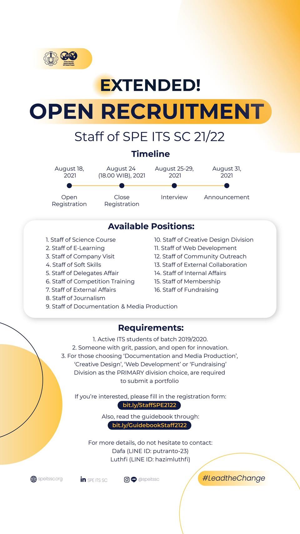[SPE ITS SC 21/22 Staff Recruitment]